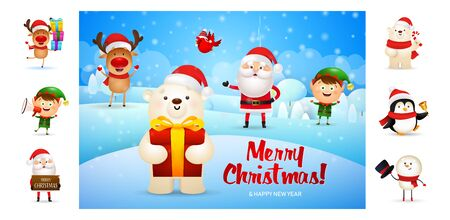 Merry Christmas card with cute cartoon bear. Text with decorations can be used for invitation and greeting card. New Year concept