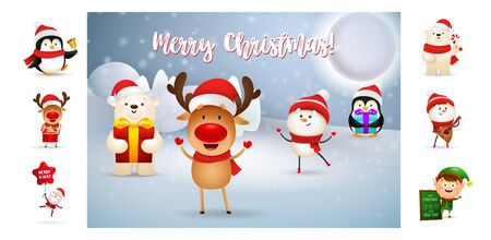 Merry Christmas card with cute cartoon deer. Text with decorations can be used for invitation and greeting card. New Year concept Ilustração