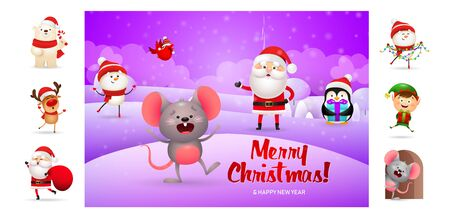 Merry Christmas card with cute cartoon mouse. Text with decorations can be used for invitation and greeting card. New Year concept