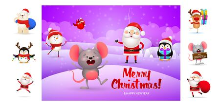 Merry Christmas card with funny cartoon mouse. Text with decorations can be used for invitation and greeting card. New Year concept