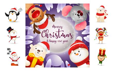 Merry Christmas and happy New Year flyer. Text with decorations can be used for invitation and greeting card. New Year concept