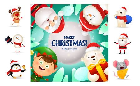 Merry Christmas and happy New Year postcard. Text with decorations can be used for invitation and greeting card. New Year concept