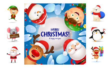 Merry Christmas card with smiling cartoon characters. Text with decorations can be used for invitation and greeting card. New Year concept