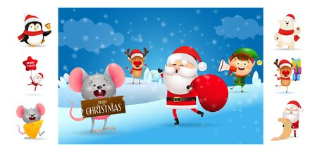 Merry Christmas card with smiling cartoon Santa and helpers. Text with decorations can be used for invitation and greeting card. New Year concept