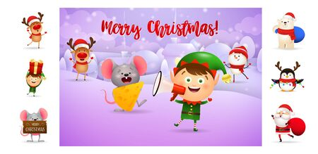Merry Christmas card with smiling elf holding loudspeaker. Text with decorations can be used for invitation and greeting card. New Year concept