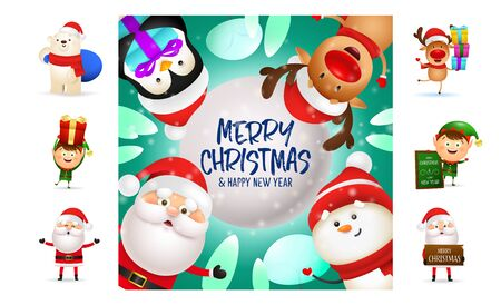 Merry Christmas colorful postcard with cute cartoon characters. Text with decorations can be used for invitation and greeting card. New Year concept