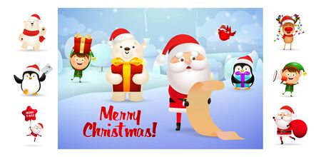 Merry Christmas colorful postcard with inscription. Text with decorations can be used for invitation and greeting card. New Year concept