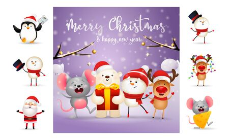 Merry Christmas greeting card on purple background. Text with decorations can be used for invitation and greeting card. New Year concept