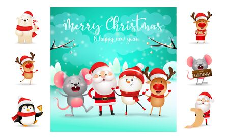 Merry Christmas greeting card with cartoon characters. Text with decorations can be used for invitation and greeting card. New Year concept Иллюстрация