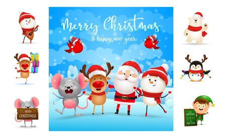 Merry Christmas greeting card with funny cartoon characters. Text with decorations can be used for invitation and greeting card. New Year concept