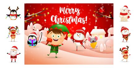 Merry Christmas greeting card with smiling elf. Text with decorations can be used for invitation and greeting card. New Year concept