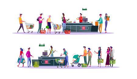 Ensemble d'acheteurs payant leurs achats à la caisse du supermarché. Caissier d'épicerie et acheteurs faisant la queue avec des caddies. Diverses personnes achetant de la nourriture illustration vectorielle plane Vecteurs