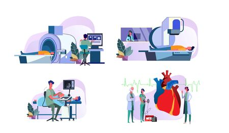 Set of doctors operating medical equipment examining patients. Diagnostic MRI tomography, ultrasound scanner, X-ray machine scanning people. Heart cardiogram.