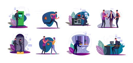 Set of thieves stealing bags and burglars breaking into houses. Hackers men hacking computer, ATM, safe. Robber criminals threating people victims with knife. Crime, theft flat vector illustration Illustration