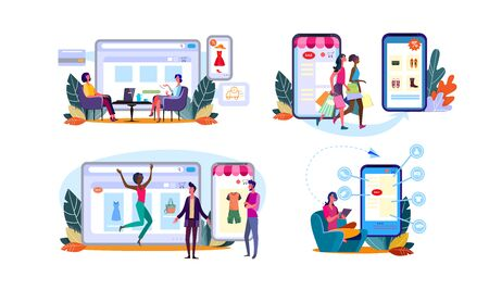 Set of women customers enjoying shopping online. Happy buyers people walking and sitting in home armchairs ordering clothes on website stores on smartphones. E-commerce flat vector illustration Иллюстрация