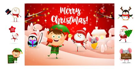 Merry Christmas greeting card with cute cartoon elf. Text with decorations can be used for invitation and greeting card. New Year concept Çizim