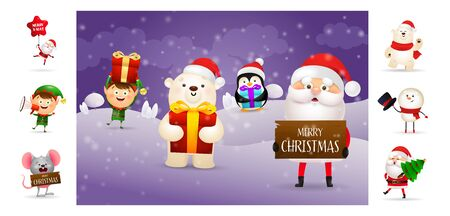 Merry Christmas card with cartoon Santa and bear. Text with decorations can be used for invitation and greeting card. New Year concept