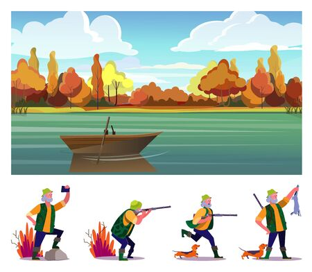 Hunting game flat vector illustration set. Hunter shooting rifle, running with dog, holding shot animal. Hobby, leisure, lifestyle concept 向量圖像