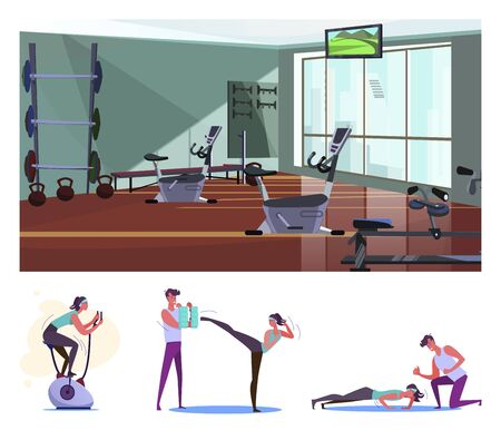 Gym flat vector illustration set. Woman training body with instructor, fighting, doing press-ups, riding exercise bike. Fitness, lifestyle concept Illustration