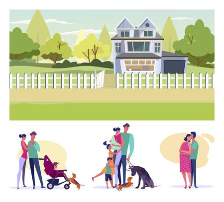 Happy parents flat vector illustration set. Family, couple walking with kids and pets, man hugging pregnant wife. Raising children concept Vetores