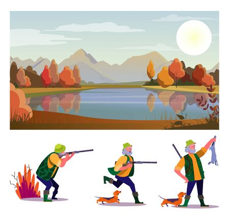 Hunt flat vector illustration set. Hunter shooting rifle, running with dog, holding game. Hobby, leisure, lifestyle concept