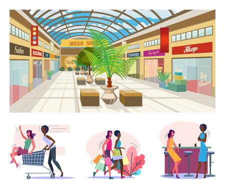Shopping and having fun flat vector illustration set. Female friends riding shopping cart, drinking in bar, carrying bags, walking together. Friendship, communication concept