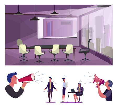 Clueless employees flat vector illustration set. Customers with megaphones shouting at confused office workers. Business problems concept