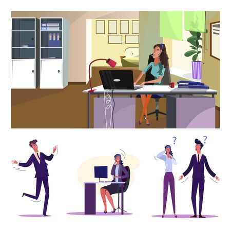 Consulting flat vector illustration set. Call center operator using laptop, office workers talking, asking question. Business support, help concept Illustration