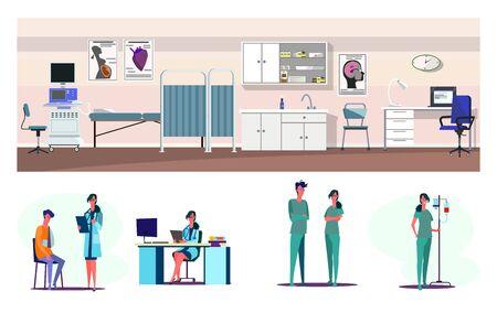 Medical aid flat illustration set. First aid station, emergency, patient with broken arm in doctor office. Medicine, hospital, healthcare concept Vektoros illusztráció