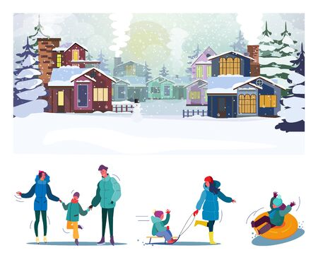 Winter outdoor activity flat vector illustration set. Suburban families enjoying ice skating, sleighing, spending time together. Lifestyle, leisure, vacation concept