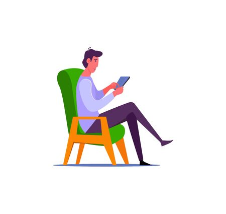 Man sitting in green armchair with tablet computer. Man in casual outfit browsing his tablet computer flat illustration. Freelance and relax concept for banner, website, landing page Illustration