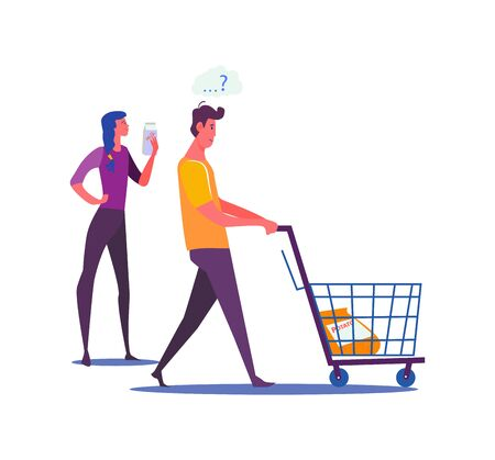 Young couple shopping together. Woman and puzzled man choosing food at supermarket flat vector illustration. Shopping and healthy lifestyle concepts for banner, website, landing page