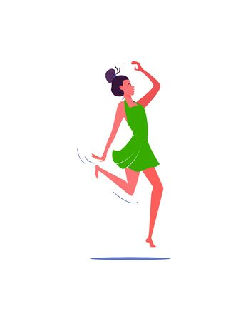 Dancing girl with hairbun. Casual free person flat vector illustration. Leisure activity, hobby concept for banner, website design or landing web page. 向量圖像
