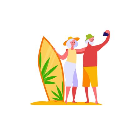 Retired married people on vacation. People spending time together flat vector illustration. Leisure activity, hobby concept for banner, website design or landing web page.