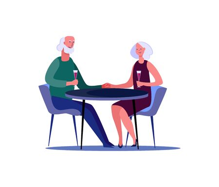 Senior couple on date. People spending time together flat vector illustration. Activity, leisure, romance concept for banner, website design or landing web page.