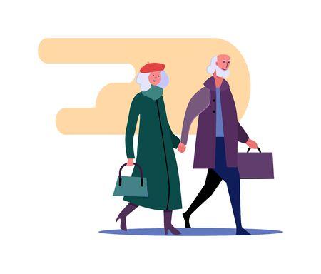 Senior people in coats walking together. People spending time together flat illustration. Activity, leisure, concept for banner, website design or landing web page. 向量圖像