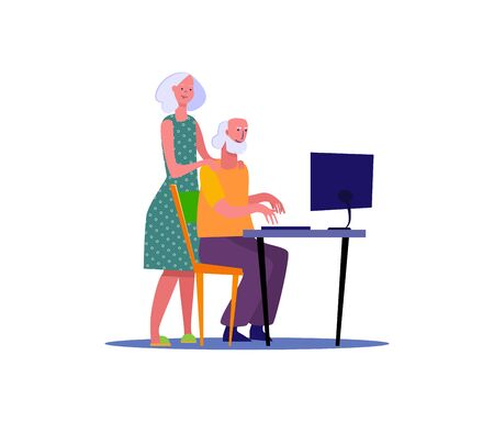Wife supporting husband. People spending time together flat vector illustration. Activity, leisure, hobby concept for banner, website design or landing web page. 向量圖像
