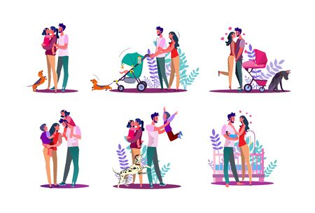 Happy family set. Couple with kids walking, enjoying time together. Flat illustrations. Family, love, lifestyle concept for banner, website design or landing web page