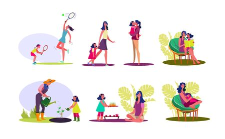 Happy motherhood set. Mother and daughter spending time together, enjoying activities. Flat vector illustrations. Family concept for banner, website design or landing web page