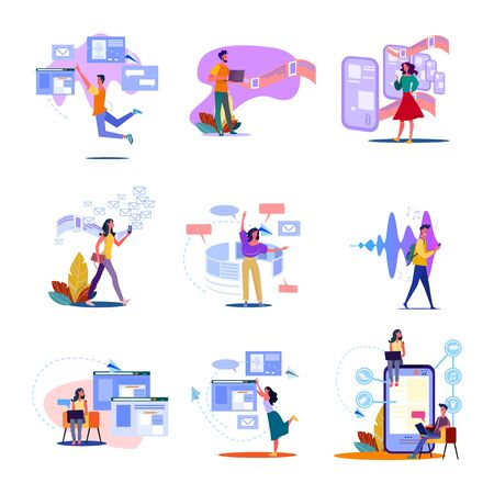 Digital technology set. Man and woman using smartphones, laptop for work, wireless internet. Flat vector illustrations. Communication concept for banner, website design or landing web page 向量圖像