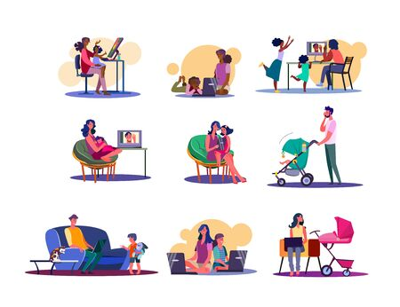 Digital devices for family set. Parents and kids using computers, laptops and phones. Flat vector illustrations. Parenthood, communication concept for banner, website design or landing web page