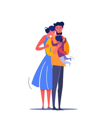 Family hugging each other. Family, love, togetherness flat vector illustration. Leisure activity and parenting concept for banner, website design or landing web page