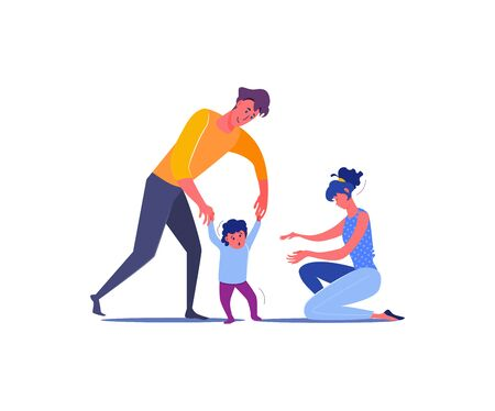 Parents teaching child to walk. Family, love, togetherness flat vector illustration. Leisure activity and parenting concept for banner, website design or landing web page Illusztráció