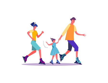 Family skating rollers. Family weekend leisure and sport spare time flat vector illustration. Leisure concept for banner, website design or landing web page