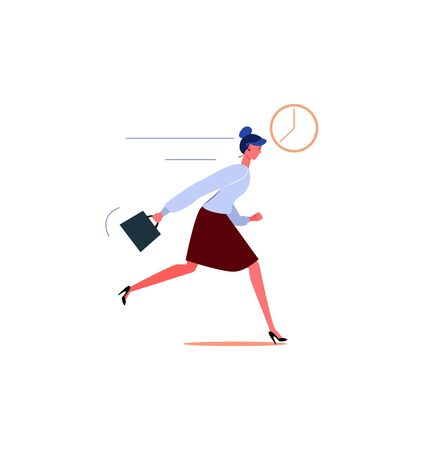 Businesswoman character running. Young office worker late for work flat vector illustration. Deadline and rush hour concept for banner, website design or landing web page