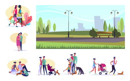 Set of citizens doing various activities. Flat vector illustrations of women shopping, families resting. Summer leisure concept for banner, website design or landing web page