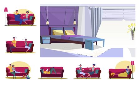 Set of families or friends sitting on couches. Flat vector illustrations of quarreling, playing, reading. Leisure and home recreation concept for banner, website design or landing web page Vettoriali