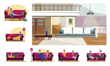 Set of people doing different activities. Flat vector illustrations of family playing, quarreling on couches. Leisure and home recreation concept for banner, website design or landing web page 일러스트