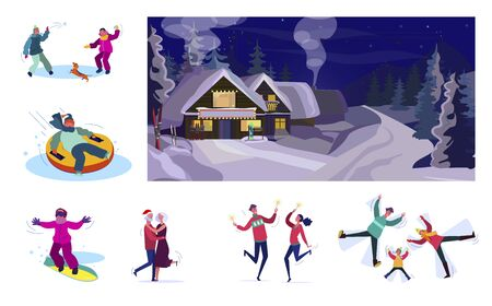Set of people relaxing during winter holidays. Flat vector illustrations of people playing snowballs, snowboarding, dancing. Winter holidays concept for banner, website design or landing web page