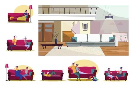 Set of people sitting on sofas in various positions. Flat vector illustrations of family playing, resting, reading. Leisure and home recreation concept for banner, website design or landing web page 일러스트